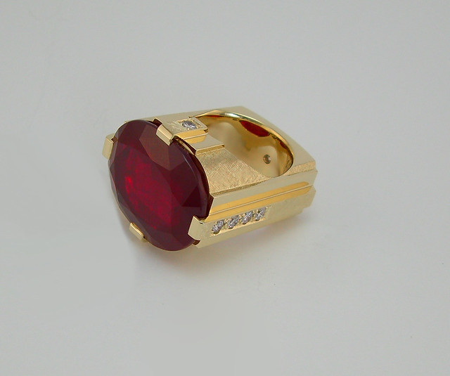Ruby and Diamond Clunker Ring 48 grams / 1