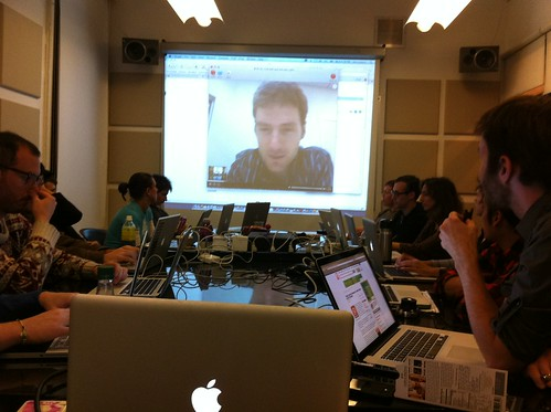 Eyal of RockMelt talking with CommunITP class about designing user experience | by kthread
