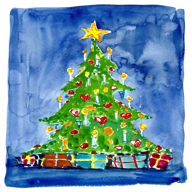 christmas tree 03 watercolor