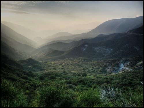 sunset mountains clouds dark parkinglot foliage valley rv hdr mtbaldy inlandempire