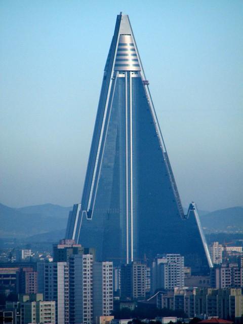 The Ryugyong Hotel in statu nascendi. Pyongyang, North Korea