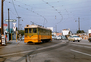 007 - LATL 5 Line Car 1428 Southbound At Crenshaw Bl At Private Right of Way near 67th St.19541215   by Metro Transportation Library and Archive