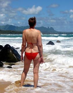 Red Bikini in Blue Hawaii
