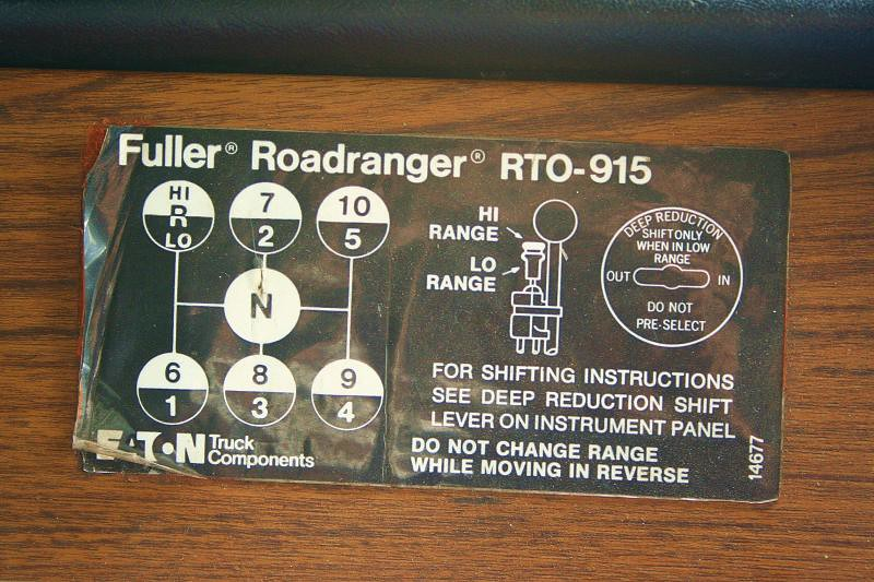 Fuller Roadranger RTO 915 The Gearchange Pattern For A 15