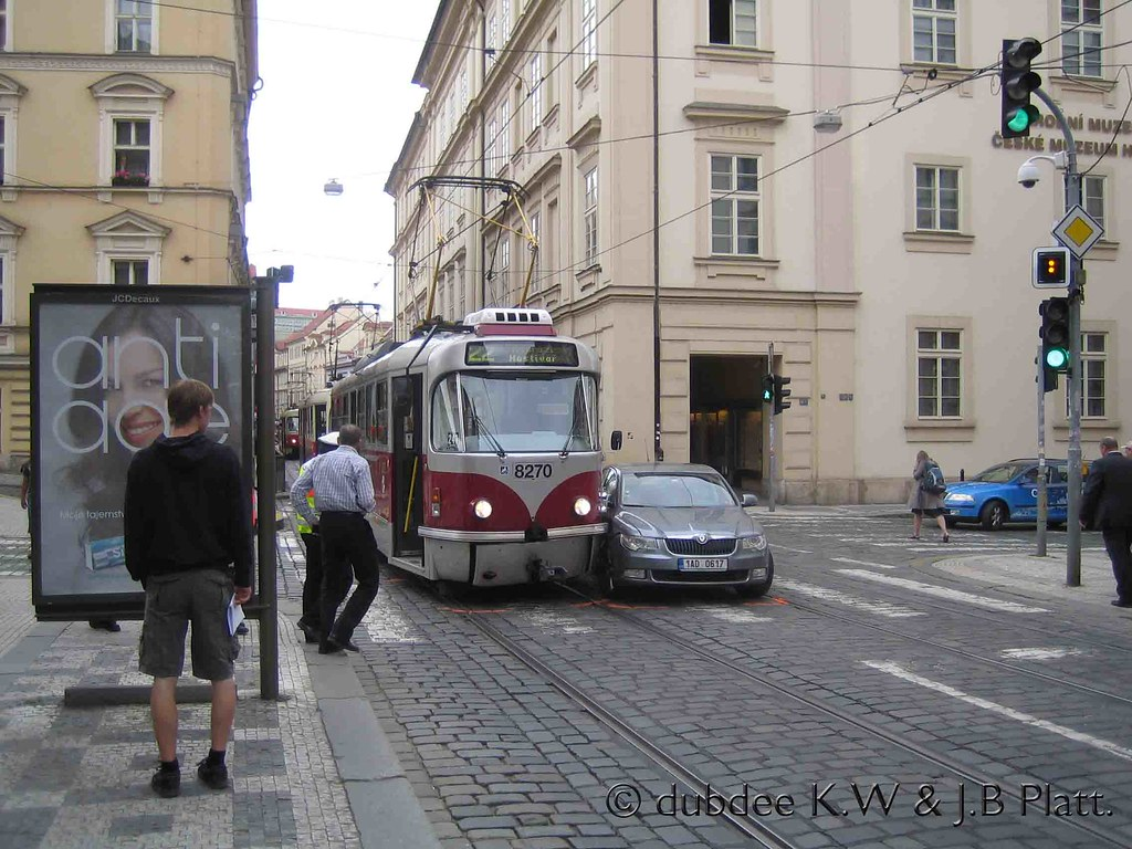 Car accident in Prague (2) | Prague's tram route 22 is a gre