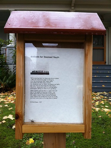 Anthem For Doomed Youth in a framed stand outside someone's house | by Francis Storr