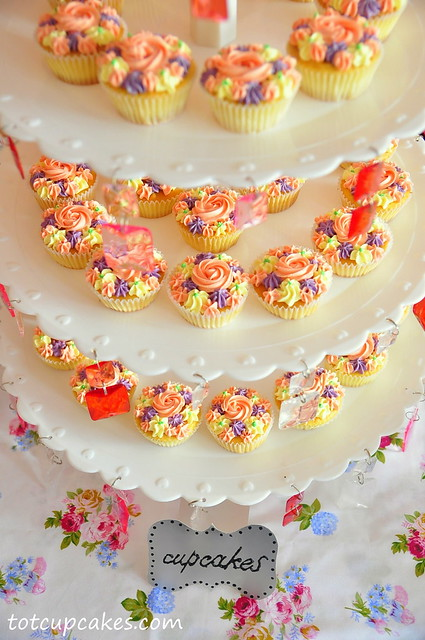 cupcake tower - english rose theme  ~totcupcakes.com~ ~totcupcakes.com~