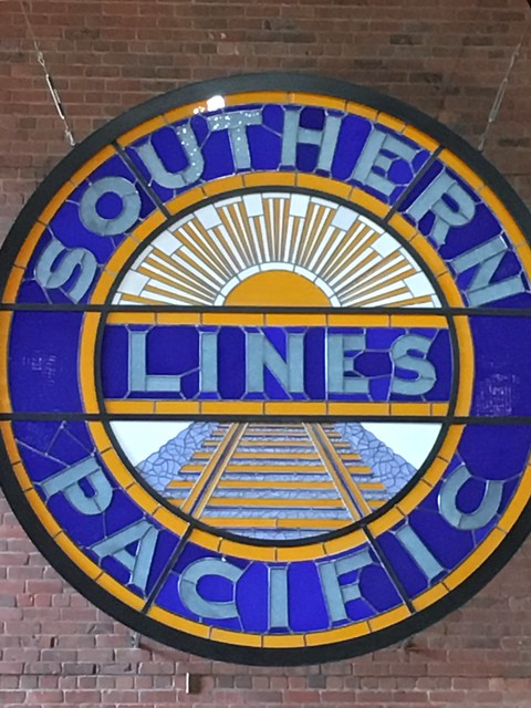 Awesome stained glass Southern Pacific Lines sign