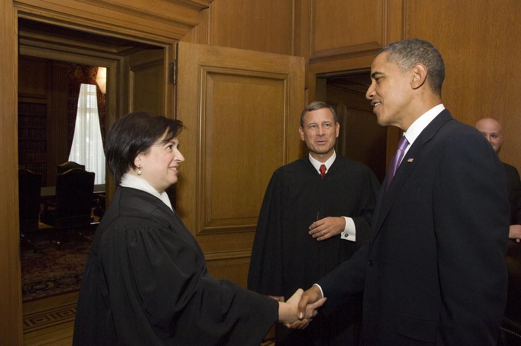 President Obama greets Elena Kagan