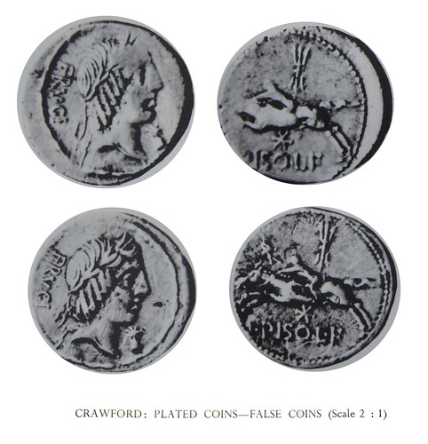 340/1b plated and good silver examples of C.Calpurnius Piso Frugi with different die-breaks showing the plated coin did not come from official dies | by Ahala