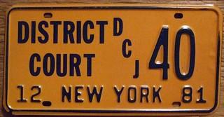 NEY YORK 1981 ---DISTRICT COURT JUDGE LICENSE PLATE