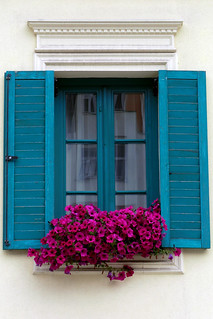 Beautifully decorated window sill in a street of Karlovy Vary, Czech Republic