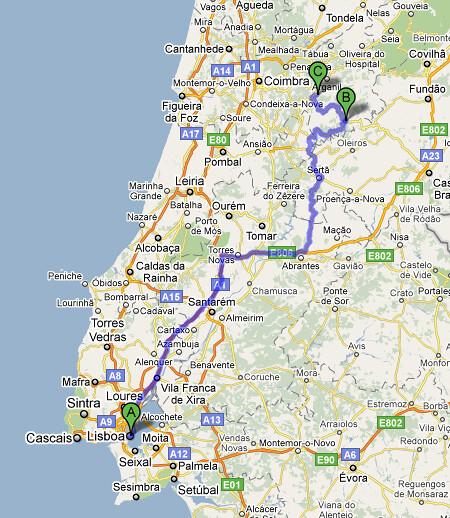 Lisboa Pampilhosa Gois Mapa Da Viagem Para A Concent Flickr