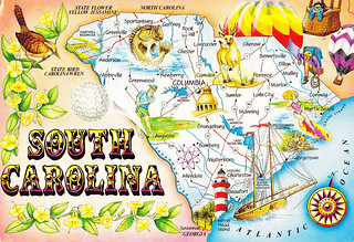 South Carolina State Map Postcard | GREETINGS FROM SOUTH CAR ...