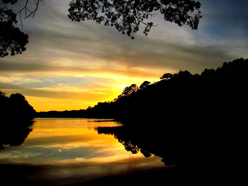 new sunset lake reflection clouds mirror jersey brownsmills