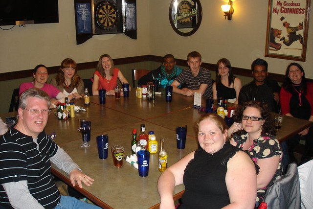Uclan group having what was supposed to be final meal together (volcanic eruption meant more was to come :))