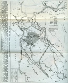 Transit time zone map from 3rd and Market (1913)