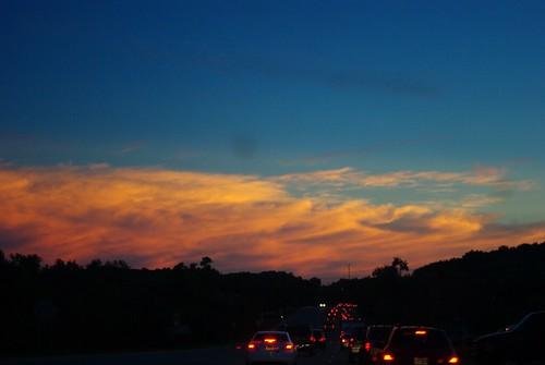 sunset sky cars clouds arkansas fayetteville razorback
