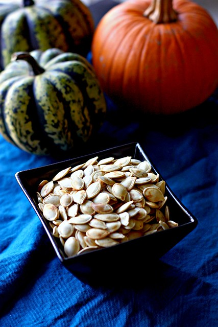 Homemade baked pumpkin seeds
