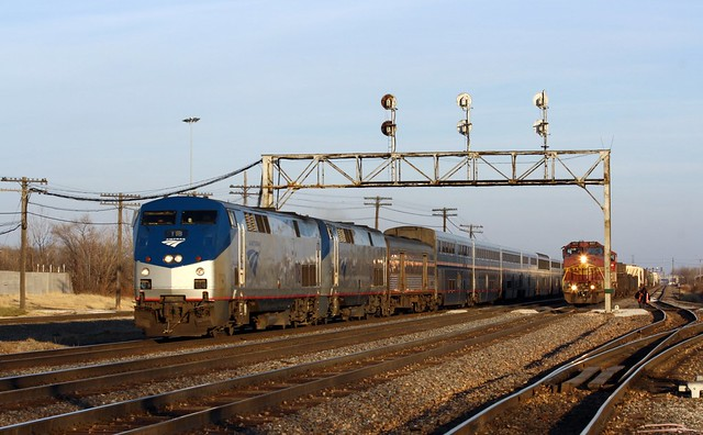 The Southwest Chief passes former Santa Fe units at Eola, IL