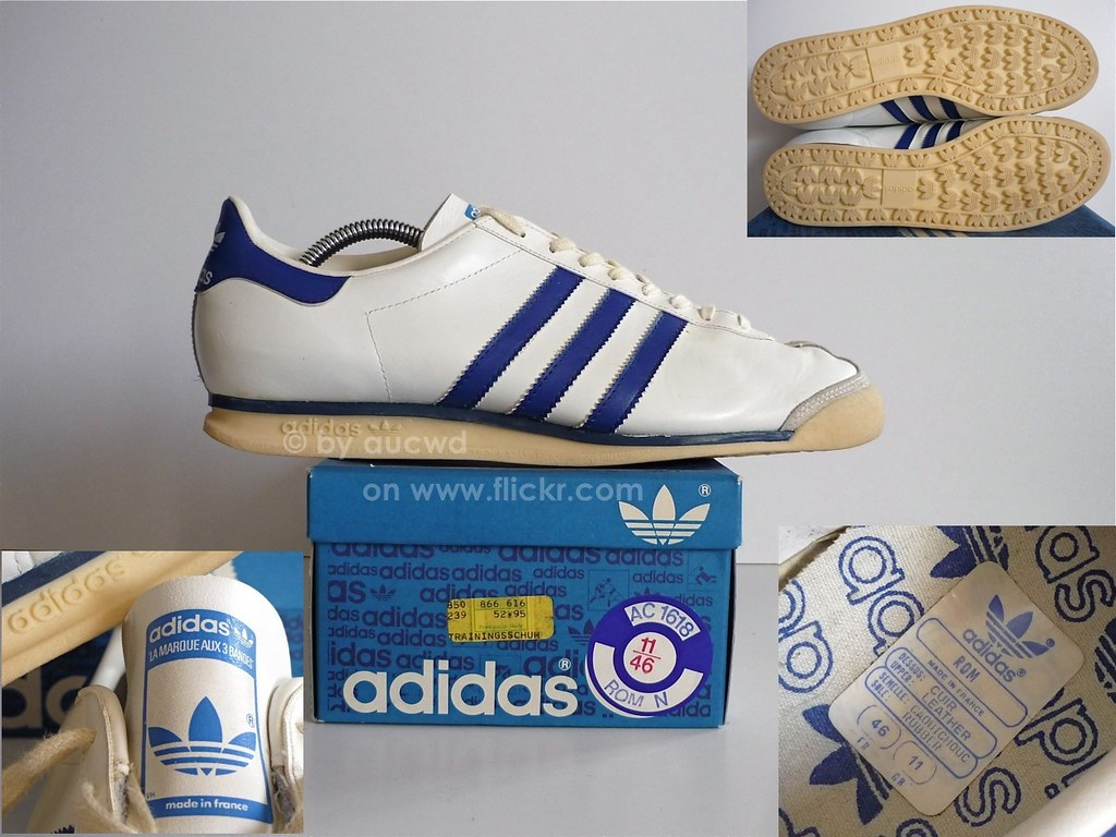 70`S 80`S VINTAGE ADIDAS ROM SHOES lavet i fransk pa  made in france pa