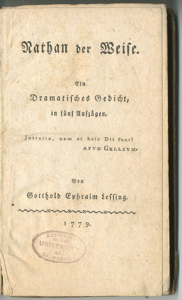 Gotthold Ephraim Lessing Nathan The Wise Berlin 1779