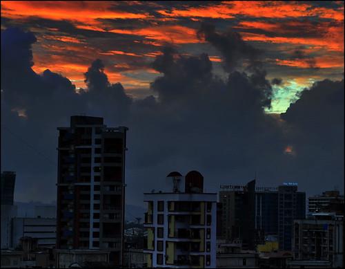 blue sunset sky orange beautiful clouds evening sundown drama spectacle d5000 antopix