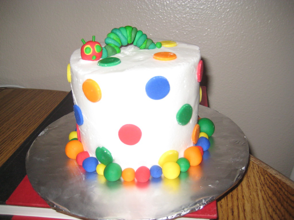 Wondrous Hungry Caterpillar Cake Polka Dot One Year Birthday Cake W Flickr Personalised Birthday Cards Veneteletsinfo
