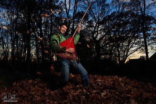autumn sunset fall leaves guitar michigan posed rake instrument clarkston strobist sethchristie raketar