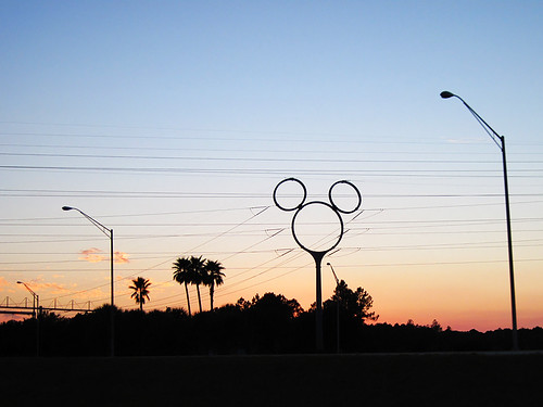 mickey mouse mickeymouse power pole powerpole powerline sunset silhouette walt disney world waltdisneyworld florida