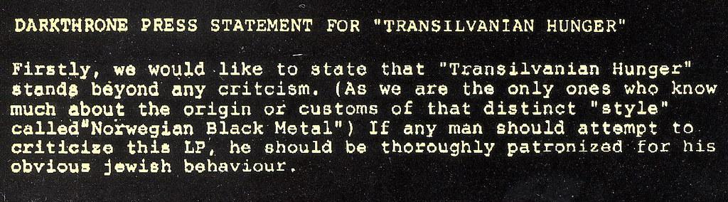 Darkthrone - press statement for ''Transilvanian Hunger