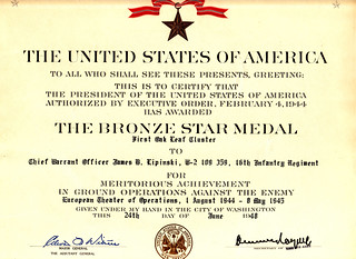 1948 - Jim's 2nd Bronze Star for Action in Europe, 16th Infantry Regiment