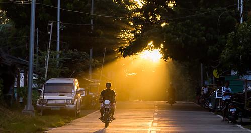 puertogalera philippines sun sunset motorcycle scooter road