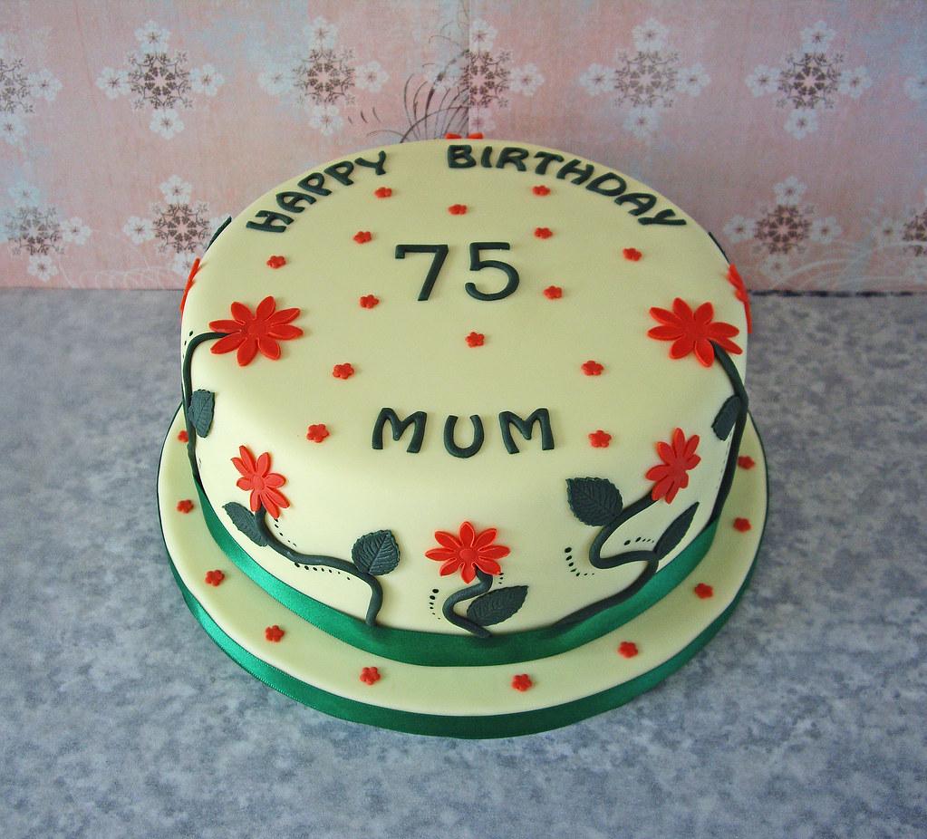 Marvelous 75Th Birthday Cake Traditional Vanilla Sponge In A Garden Flickr Funny Birthday Cards Online Elaedamsfinfo