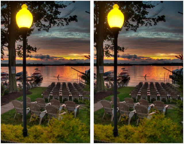 Lake chairs sunset