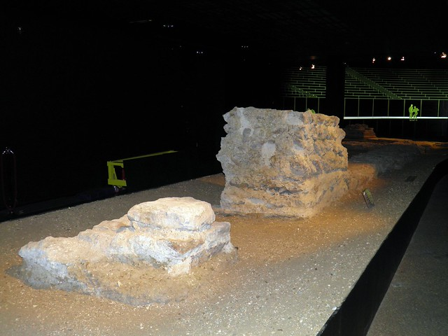 The remains of the impressive amphitheatre in the basement of Guildhall, Londinium, Roman Amphitheatre