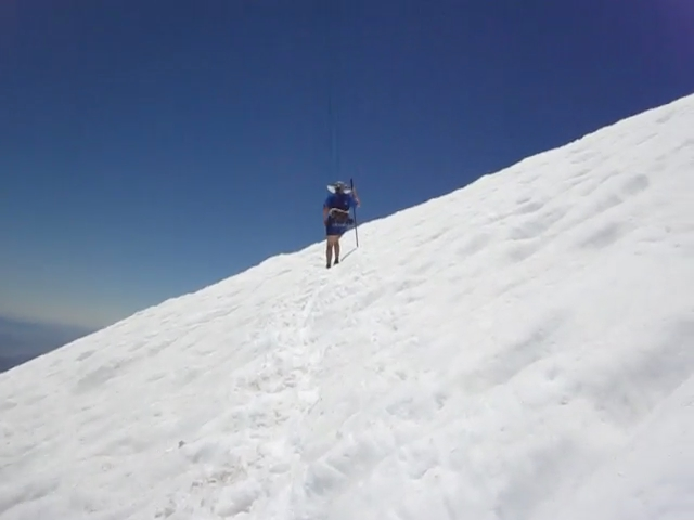 316 Video of a snow crossing on the Sky High Trail below San Gorgonio Mountain