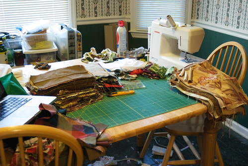 Stacks and stacks of upholstery and drapery fabric.