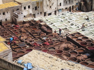 The dying vats reminded me of school paint pots, Fez medina | by Mary Loosemore