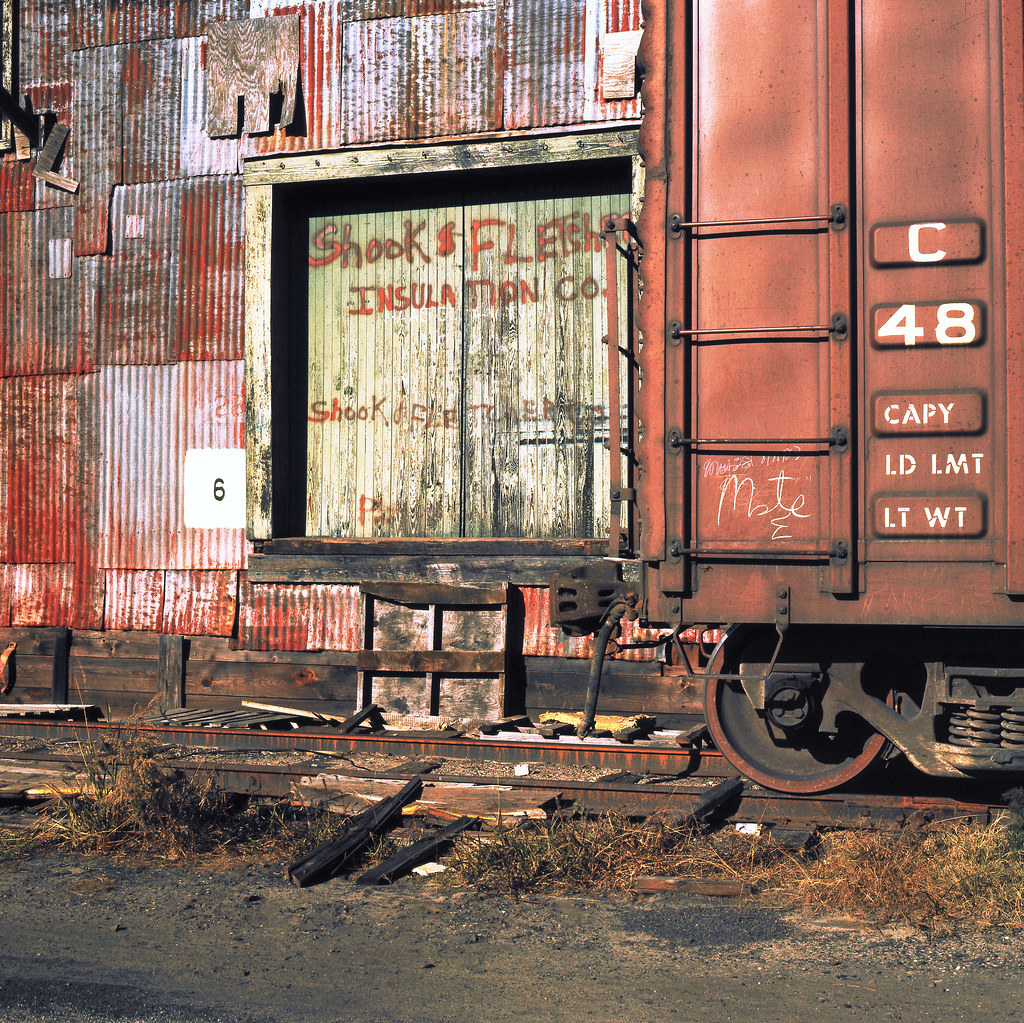 Box Car Located On A Siding At An Old Warehouse In Savanna