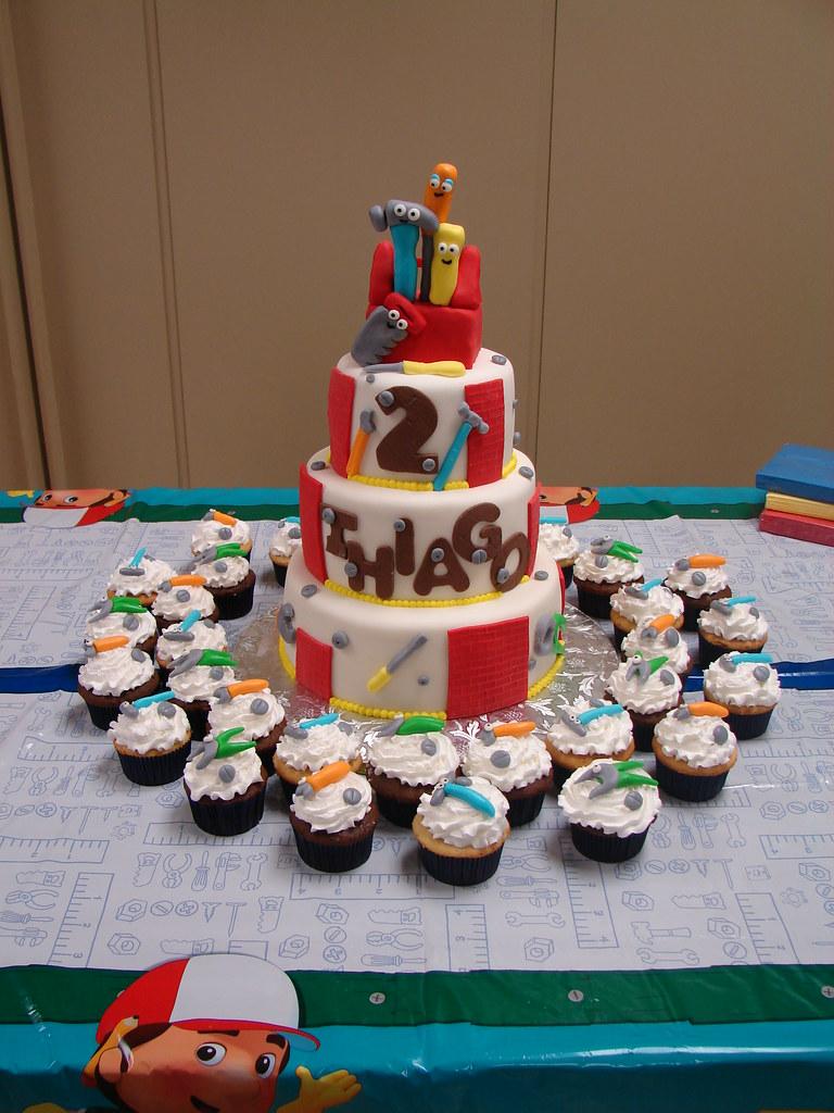 Strange Handy Manny Birthday Cake And Cupcakes Set Up At Venue Flickr Birthday Cards Printable Inklcafe Filternl