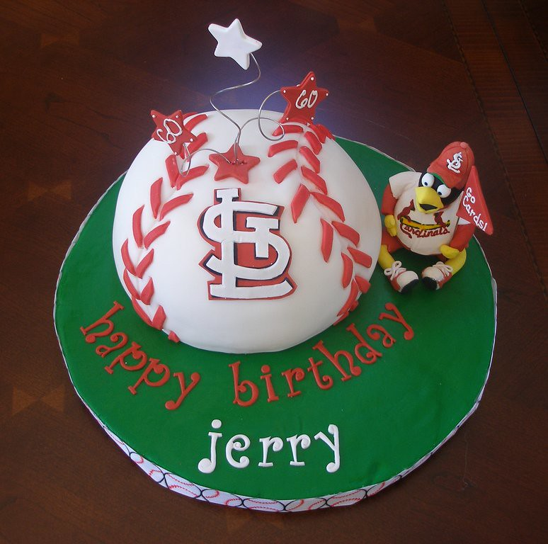 Surprising St Louis Cardinals Birthday Cake Baseball Is Dark Chocola Flickr Funny Birthday Cards Online Fluifree Goldxyz