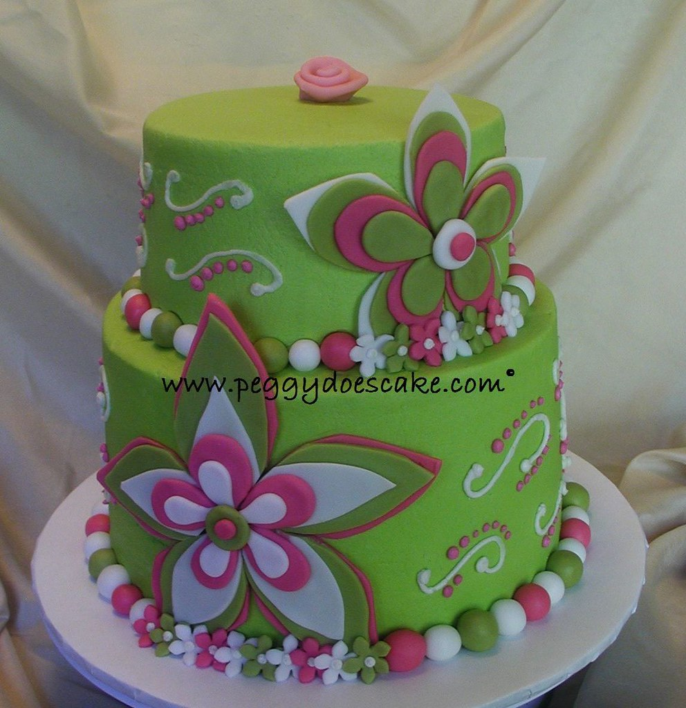 Pink And Lime Green Cake