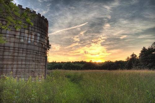 sunset clouds farm silo hdr eastputnam