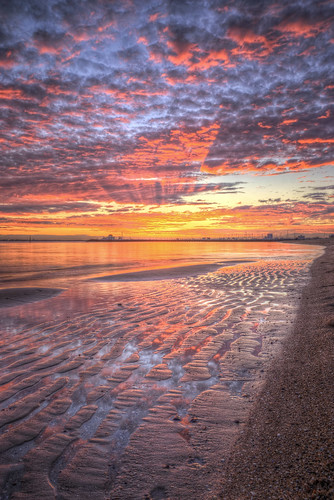 pink winter sunset red orange reflection beach water colors clouds photoshop catchycolors sand colorful australia melbourne victoria ripples hdr stkilda topaz photomatix
