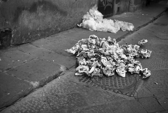 crumpled newspapers