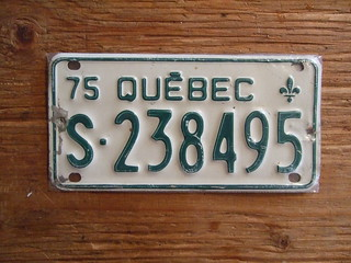 QUEBEC 1975 ---SNOWMOBILE PLATE S238495