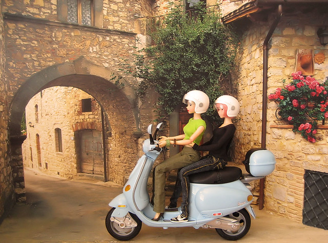 Audrey & Torrance take a ride on the Vespa