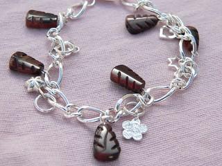 Red Tiger Eye Leaf Charm Bracelet