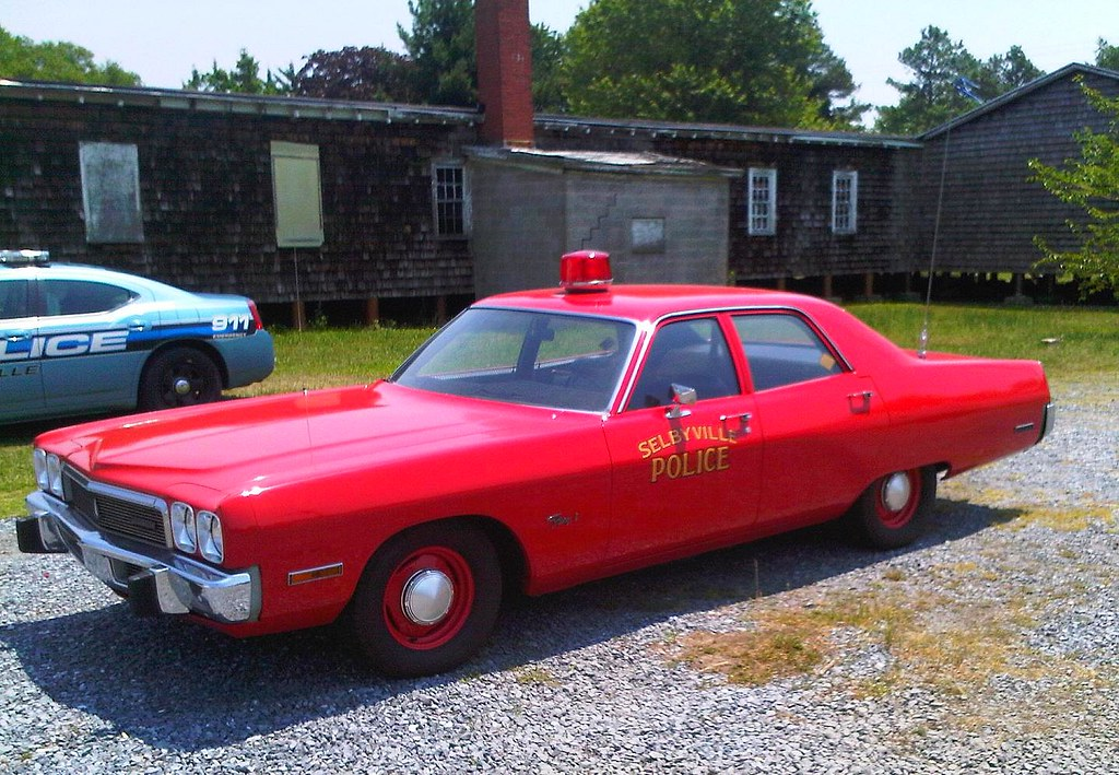 Selybville, Delaware Police | Historic red police car  At on